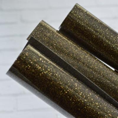 Отрез термотрансферной пленки с глиттером 25х25 см, черное золото