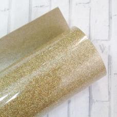Отрез термотрансферной пленки с глиттером 25х25 см, зеленовато-золотой