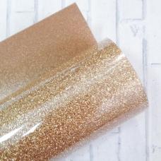 Отрез термотрансферной пленки с глиттером 25х25 см, золото