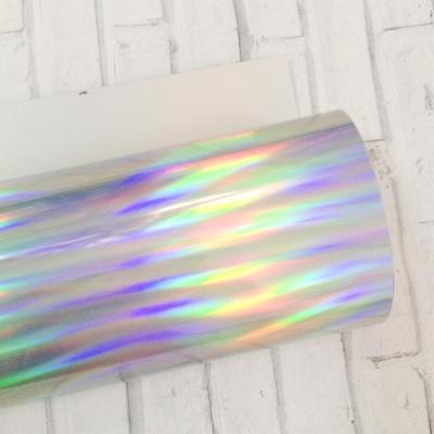 Отрез термотрансферной пленки зеркальной 25х25 см, серебро с радужным отливом