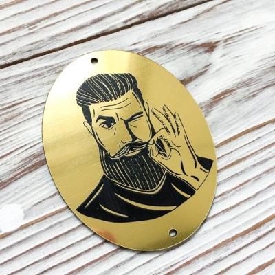 Табличка с бородачом овальная, золото, 5,5х7 см