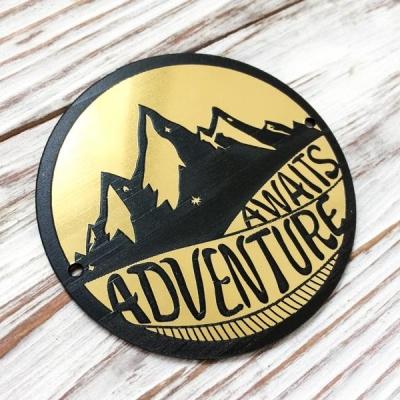Табличка круглая Adventure, золото, 6 см