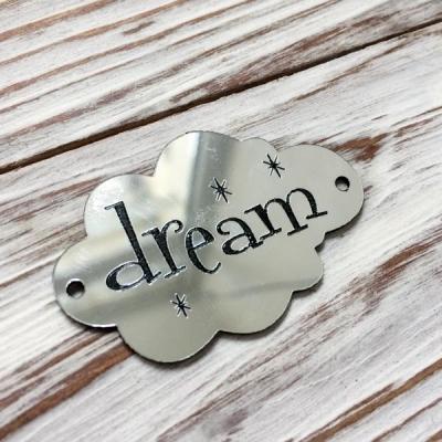 Табличка - облачко Dream, серебро, 3х5 см