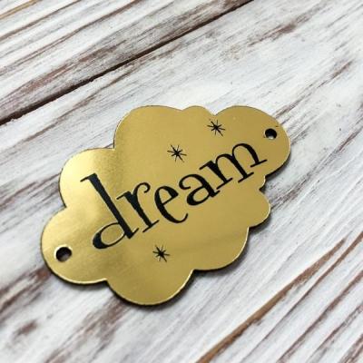 Табличка - облачко Dream, золото, 3х5 см