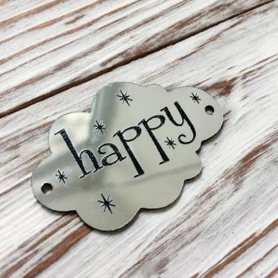Табличка - облачко Happy, серебро, 3х5 см