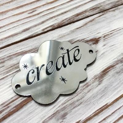 Табличка - облачко Create, серебро, 3х5 см