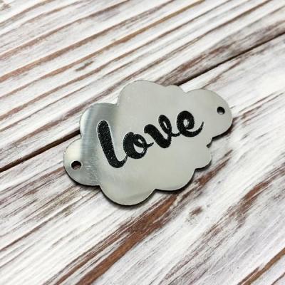 Табличка - облачко Love, серебро, 3х5 см