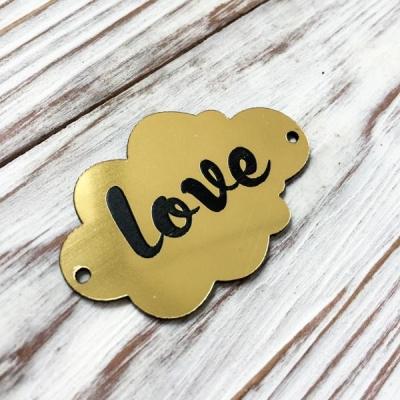 Табличка - облачко Love, золото, 3х5 см