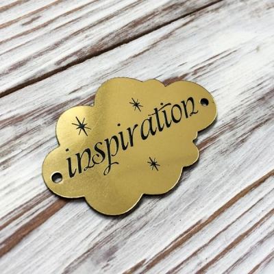 Табличка - облачко Inspiration, золото, 3х5 см