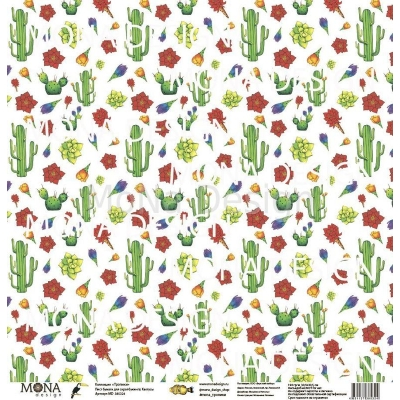 Лист Кактусы 30,5x30,5 см, MoNa Design
