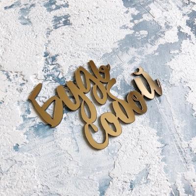 Надпись из пластика с зеркальным покрытием, Будь собой, 7х5,5 см, золото