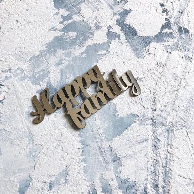 Надпись из пластика с зеркальным покрытием, Happy family, 7х3,5 см, серебро
