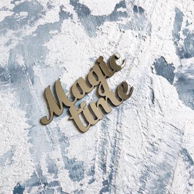Надпись из пластика с зеркальным покрытием, Magic time, 6,5х3,5 см, серебро