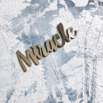 Надпись из пластика с зеркальным покрытием, Miracle, 7х2,3 см, серебро