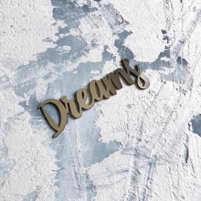 Надпись из пластика с зеркальным покрытием, Dreams, 7х2,5 см, серебро