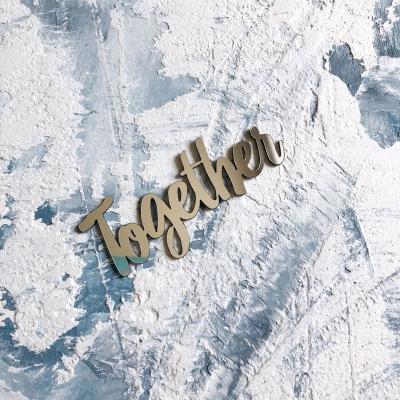 Надпись из пластика с зеркальным покрытием, Together, 7х3 см, серебро