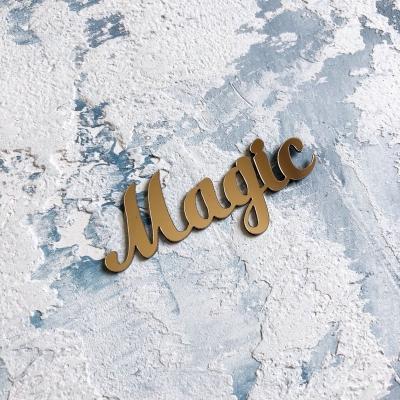 Надпись из пластика с зеркальным покрытием, Magic, 6,5х3 см, золото