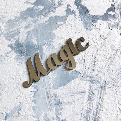 Надпись из пластика с зеркальным покрытием, Magic, 6,5х3 см, серебро