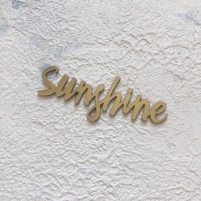 Надпись из пластика с зеркальным покрытием, Sunshine, 7х2 см, золото