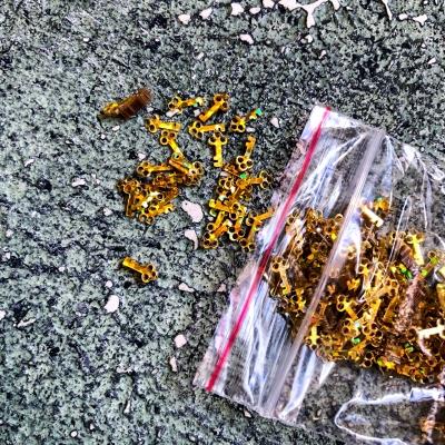 Пайетки-ключики, золото, 5-8 грамм