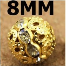 Бусина металлическая с полоской из страз, 10 мм, золото