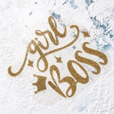Надписть из золотого термотрансфера с глиттером Girl boss, 10,5х12 см