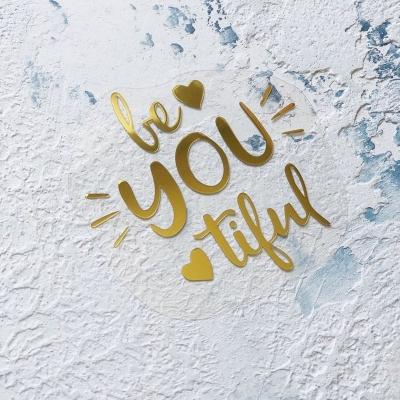 Надпись из золотого зеркального термотрансфера Be you tiful, 7,2х7,2 см