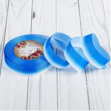 """Лента репсовая """"Градиент"""", ширина 25мм, цвет синий, 1 метр"""