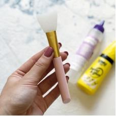 Широкая силиконовая кисть для клея розовая ручка, белая кисть