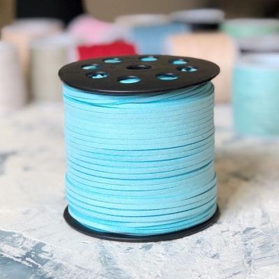 Замшевый шнур 3 мм голубой, отрез 1м