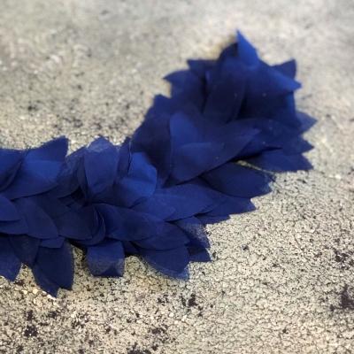 Шифоновые лепестки на ленте, отрез 45 см, цвет темно-синий