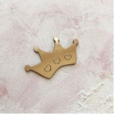 Корона с сердечками из пластика с золотым зеркальным покрытием, 6х3,5 см