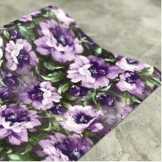 Кожзам на тканевой основе с цветами, отрез 34х45 см, сиреневые оттенки