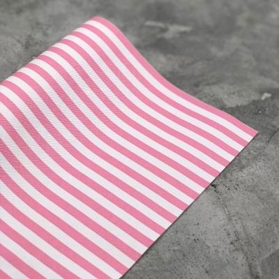 Кожзам на тканевой основе в розово-белую полоску 0,5 мм, отрез 34х45 см