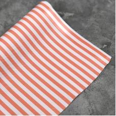 Кожзам на тканевой основе в персиково-белую полоску 0,5 см, отрез 34х45 см