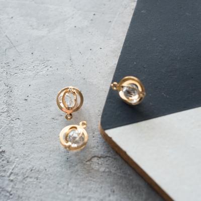 Подвеска с камушком круг, золото, 14х19 мм