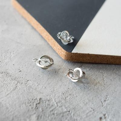 Подвеска с камушком круг, серебро, 14х19 мм