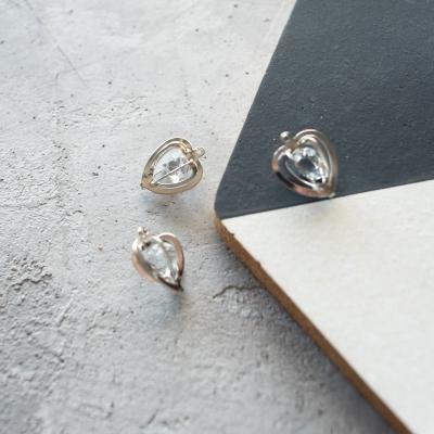 Подвеска с камушком сердце, серебро, 15х18 мм