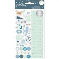 Набор наклеек с серебряным фольгированием Night Night Baby Boy Repeat Stickers от Pebbles (2 листа)