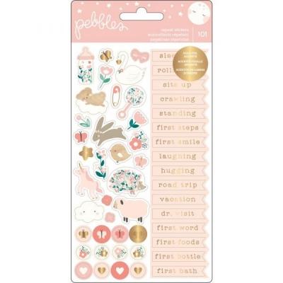 Набор наклеек с золотым фольгированием Night Night Baby Girl Repeat Stickers от Pebbles (2 листа)