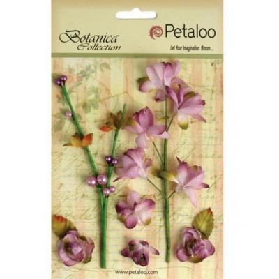 """Набор цветов бумажных """"Petaloo"""" 1100-107Floral Ephemera- Lav/Purple (бледно-лиловый)"""