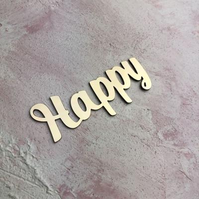 Слово Happy из пластика с золотым зеркальным покрытием,7х2.5 см