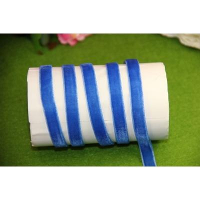 Бархатная лента 1 см, отрез 1 м, синяя