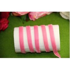 Бархатная лента 1 см, отрез 1 м, розовая