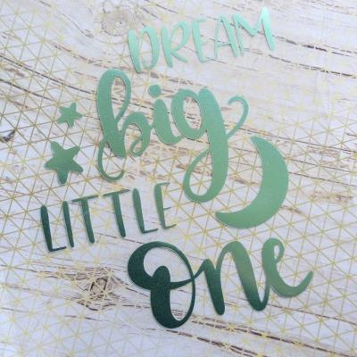 Надпись из мятного зеркального термотрансфера Dream big Little one, 11,7х13,7 см
