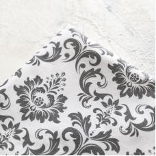 Отрез премиум-хлопка, серый узор на белом, 40х50 см