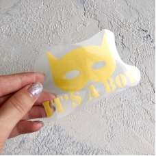 Надпись из золотого матового термотрансфера Бетмен It's a boy, 10,2х6 см