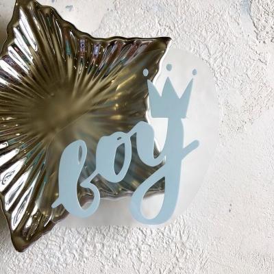 Надпись из матового термотрансфера Boy, 10,7х8,6 см, цвет пастельный голубой