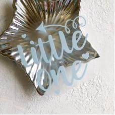 Надпись из матового термотрансфера Little one, 10х9,8 см, цвет пастельный голубой