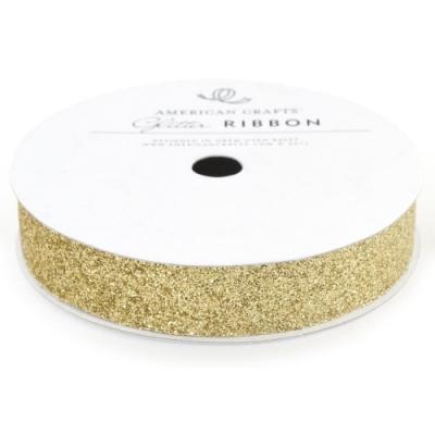 Лента с глиттером Solid Glitter Ribbon от American Crafts золото